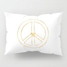 Gold Heart Peace Sign Pillow Sham