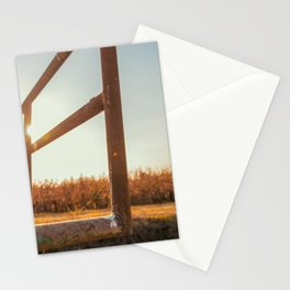 Bridge over an irrigation channel of the Lomellina at sunset Stationery Cards