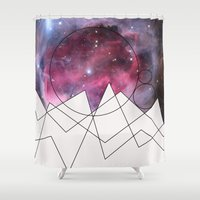 outer space Shower Curtains featuring Outer Space by FlurinaJT