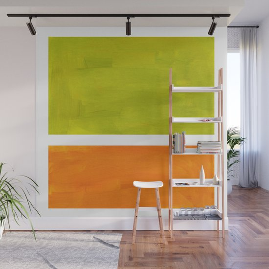 Retro Lime Green Minimalist Abstract Color Block Rothko Midcentury Modern Art by enshape