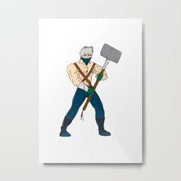 Ninja Masked Warrior Sledgehammer Cartoon Metal Print