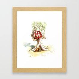 CabanArbre-Fenêtre-Rouge Framed Art Print