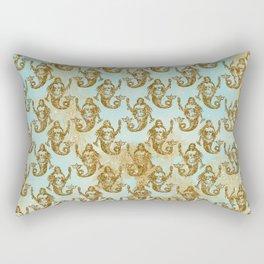 Mermaids- Mermaid Gold Glitter pattern on aqua background Rectangular Pillow
