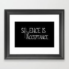 Silence is Acceptance Inverse Colors Framed Art Print