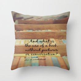 Book Alice Wonderland Throw Pillow