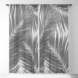 Palm Leaf Black & White III Sheer Curtain