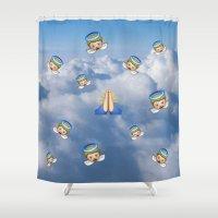 emoji Shower Curtains featuring Heavenly Emoji by jajoão