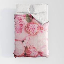 Romantic Pink Peony Flowers Comforters