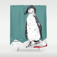 penguin Shower Curtains featuring Penguin by Diana Hope