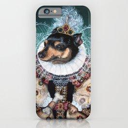 Sophia the Miniature Pinscher as Queen Elizabeth iPhone Case