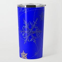Decorative Scenic Blue Swirling Snowflakes Winter Vista Travel Mug