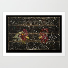 Chickens on wood Art Print