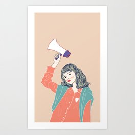 Women holding Megaphones are being announced in public places. Art Print
