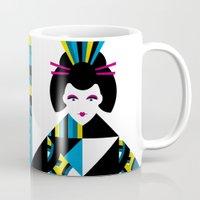 geisha Mugs featuring GEISHA by Oscar Odd Diodoro