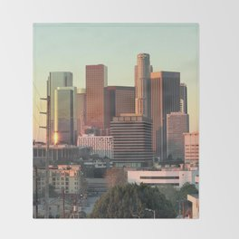 Los Angeles skyline at dawn Throw Blanket