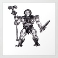 skeletor Art Prints featuring Skeletor by Furry Turtle Creations