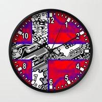 denmark Wall Clocks featuring circuit board Flag (Denmark) by seb mcnulty