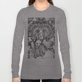 Genish black and white line drawing Long Sleeve T-shirt