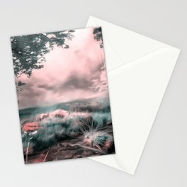 acrylic misty forest painting 2 acr2s Stationery Cards