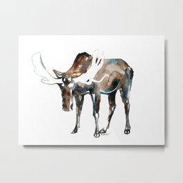 Moose watercolor artwork Metal Print