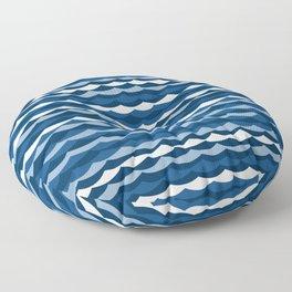 Classic Blue Wave Pattern Floor Pillow