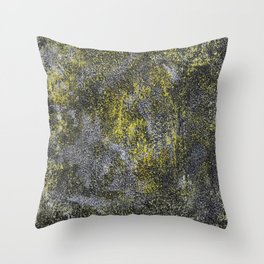Black and White Ink on Yellow Background Throw Pillow