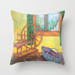 Spinning Wheel Watercolor By Catherine Coyle  Throw Pillow