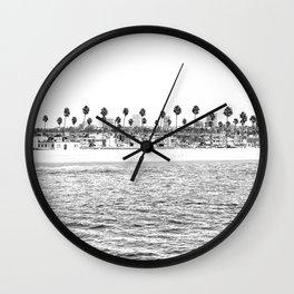 Vintage Newport Beach Print {4 of 4} | Photography Ocean Palm Trees B&W Tropical Summer Sky Wall Clock