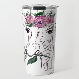 Giraffe, Giraffe with flower, animal, nature Travel Mug