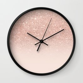 Rose gold faux glitter pink ombre color block Wall Clock