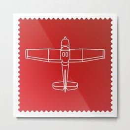 Stamp series - Red Square Cesna Metal Print