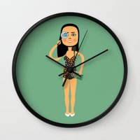 astrology Wall Clocks featuring Fashion Icon: Astrology by Mouki K. Butt