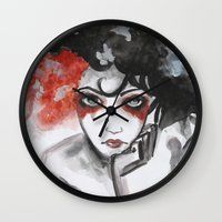 vendetta Wall Clocks featuring Vendetta by Valeri Prokopenko