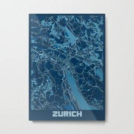 Zurich - Switzerland Peace City Map Metal Print