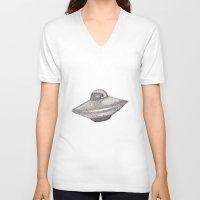 ufo V-neck T-shirts featuring UFO by nach-o-kid