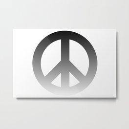 Black Fade CND Peace Symbol on White Metal Print