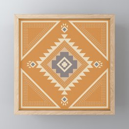 Modern Western Pattern in Butterscotch and Frost Gray Framed Mini Art Print