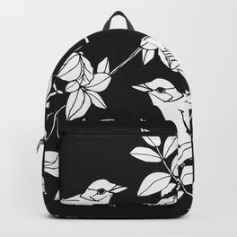 Birds on Branches, Drawing (White on Black) Backpack