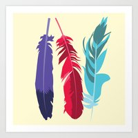 indie Art Prints featuring Indie Feathers  by Minette Wasserman