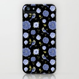 Blue birds and peonies on black backdrop iPhone Case