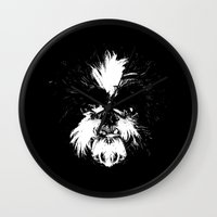 shih tzu Wall Clocks featuring Shih Tzu! by Jay Taylor