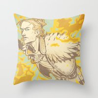 dragon age Throw Pillows featuring Dragon Age: Justice by Sara Cuervo
