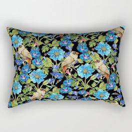 Bluely Flowers with birds - BBG Rectangular Pillow