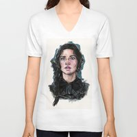 katniss V-neck T-shirts featuring Katniss Everdeen by vooce & kat