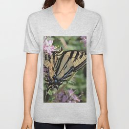 Western Tiger Swallowtail on Lemon Blossoms Unisex V-Neck