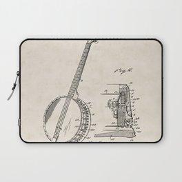 Banjo Vintage Patent Hand Drawing Laptop Sleeve