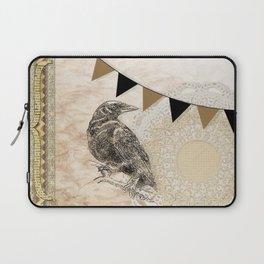 Crow, Brown Banner, Doily, Digital Design Laptop Sleeve