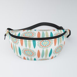 Mid Century Modern Mandala and Leaf Nature Print Fanny Pack