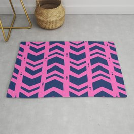 Midnight navy blue hot pink abstract geometric pattern Rug