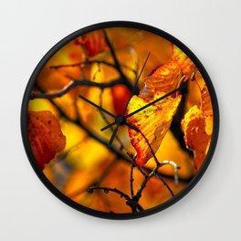 Beautiful orange linden tree leaves Wall Clock